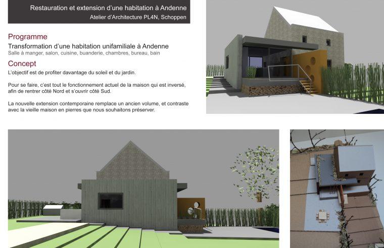 Restauration et extension d'une habitation à Andenne